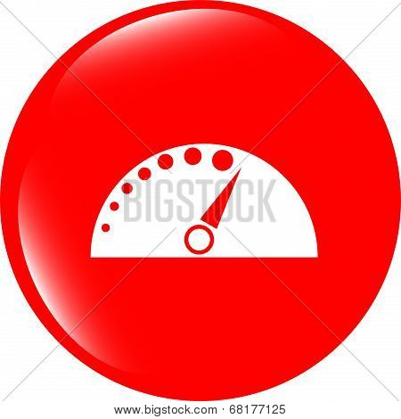 Automotive Tachometer On Web Button (icon) Isolated On White