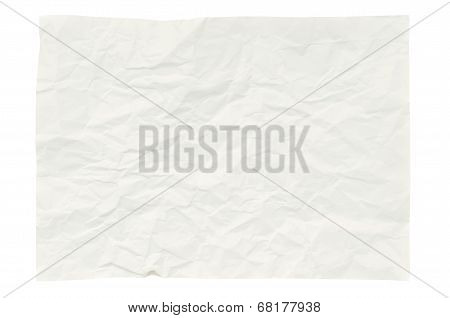 Wrinkled Paper Isolated On White