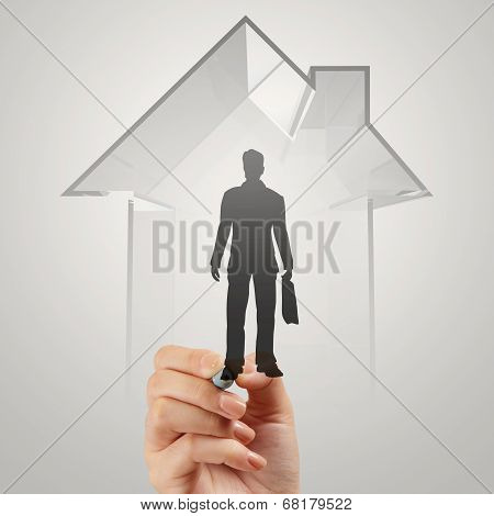 Businessman Hand Drawing 3D House With Human Icon As Insurance Concept