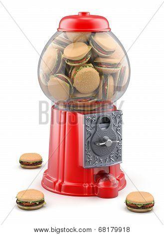 Gumball machine with hamburger