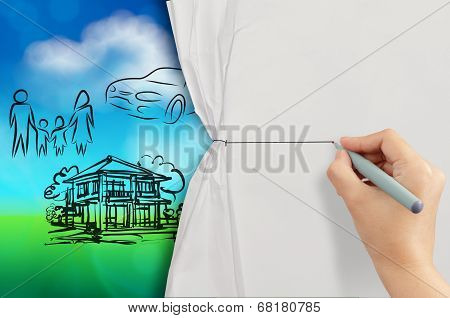 Hand Open Crumpled Paper To Show Planning Family Future Blue And Green Nature Background As Concept