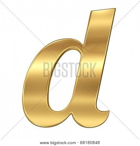 Golden shining metallic 3D symbol letter d - lowercase isolated on white.