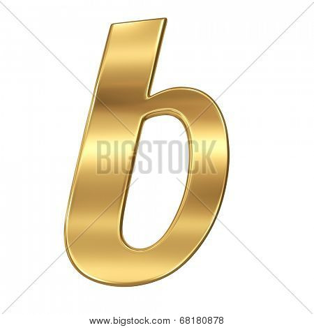 Golden shining metallic 3D symbol letter b - lowercase isolated on white.