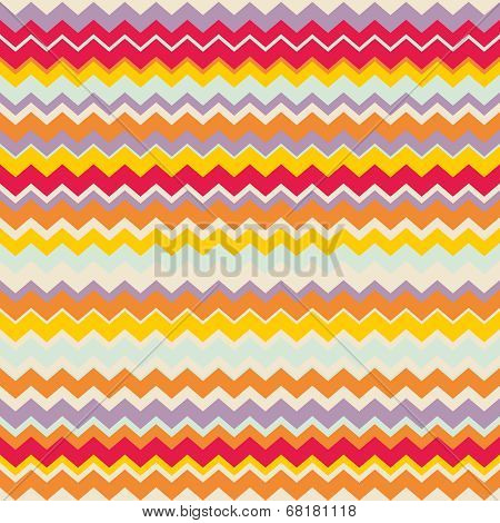 Chevron vector seamless colorful pattern or tile background with zig zag red, purple, yellow, pink