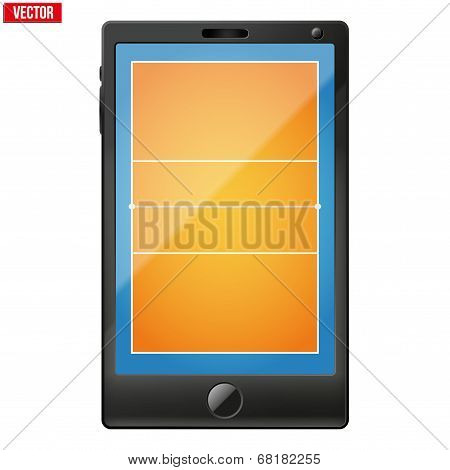 Smartphone with a volleyball field on the screen.