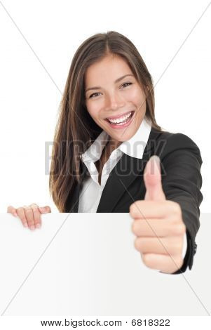 Businesswoman Holding Billboard Sign