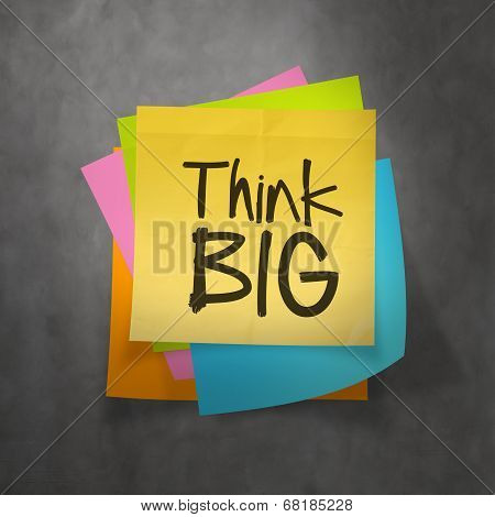Hand Drawn Think Big Phrase On Sticky Note Texture Background As Concept