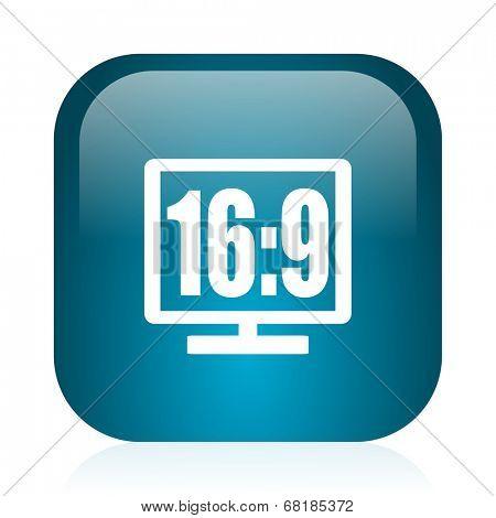 16 9 display blue glossy internet icon