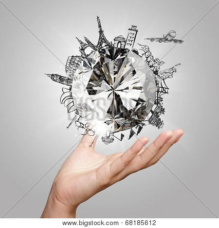 Hand Showing 3D Diamond With Dream Traveling Around The World As Concept