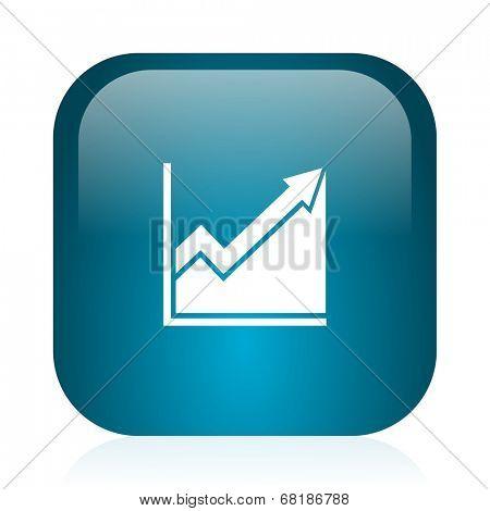 histogram blue glossy internet icon