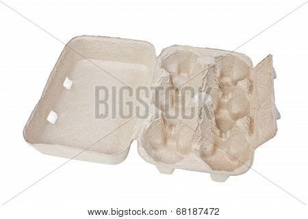 Blank Cardboard Egg Carton Isolated On White Background.