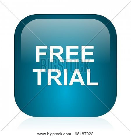 free trial blue glossy internet icon