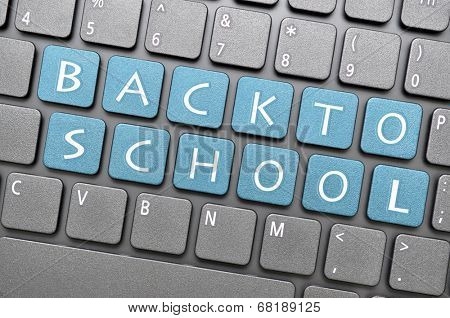 Blue back to school key on keyboard