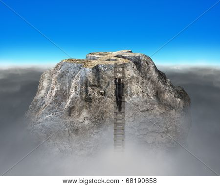 Businessman Climbing Up To Rocky Money Mountain