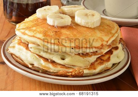 Home Cooked Pancakes With Bananas