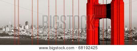 Golden Gate Bridge closeup panorama in San Francisco as the famous landmark.