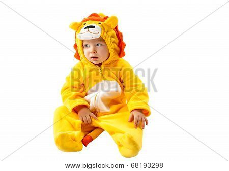 Child Girl,dressed In Lion Carnival Suit, Isolated On White Background. Baby Zodiac - Sign Leo. The
