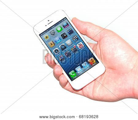 Hand Holding New Iphone 5