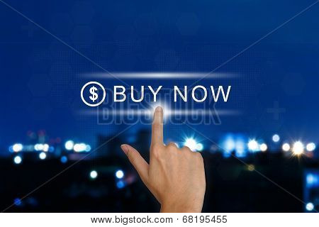 Hand Pushing Buy Now Button On Touch Screen