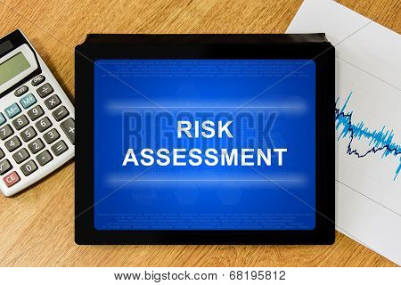 Risk Assessment Word On Digital Tablet
