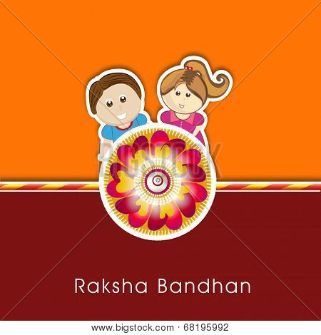 Raksha Bandhan celebrations greeting card design with rakhi and cute little brother and sister on orange and maroon background.