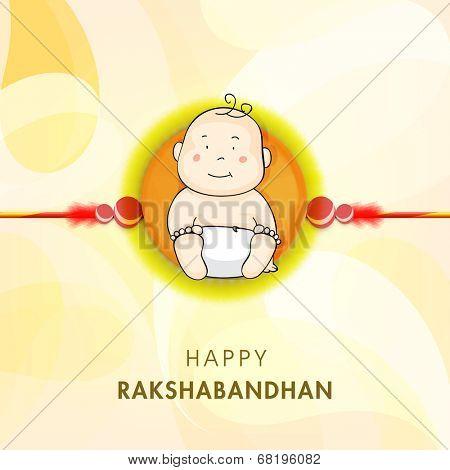 Cute little boy picture decorated rakhi on shiny yellow background for Happy Raksha Bandhan celebrations.