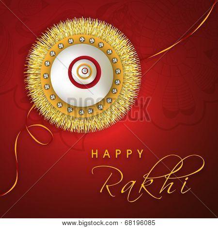 Happy Raksha Bandhan celebrations greeting card design with golden and silver rakhi on floral decorated red background.