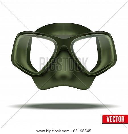 Underwater diving scuba green mask vector