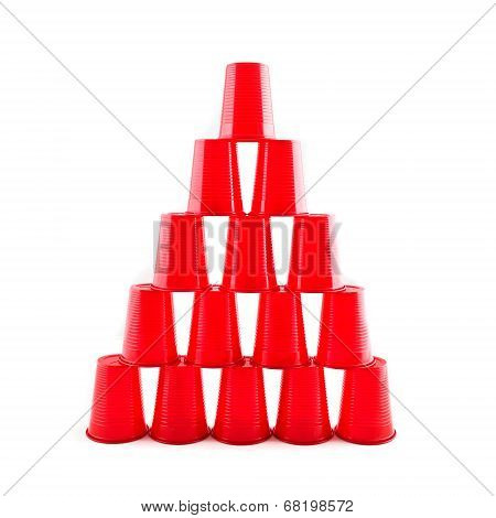 Empty Plastic Red Cups Pyramid