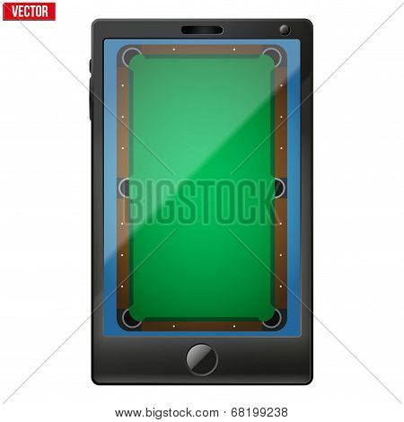 Smartphone with a billiard field on the screen.