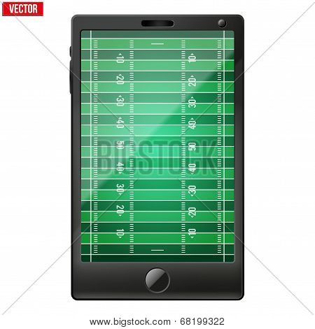 Smartphone with a american football field on the screen.