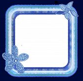 stock photo of png  - Polka Dots blue cute floral square frame