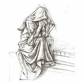 stock photo of saddening  - Cemetery Angel traditional drawing line work vector for Use - JPG