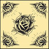 stock photo of thorns  - Roses and Frame Oldskool Tattoo style design set 02 Elements vector - JPG