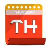 foto of thursday  - Thursday Vector Paper Calendar Illustration on White Background - JPG