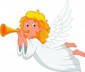 stock photo of angel-trumpet  - Vector illustration of cartoon angel with trumpet - JPG