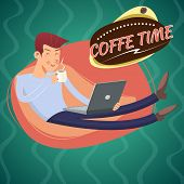 picture of beaver  - Vintage Geek Eager Beaver symbol Man with Laptop Drinks Coffee Icon on Stylish Background Retro Cartoon Design Vector Illustration - JPG