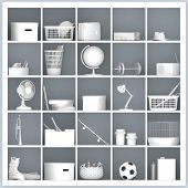stock photo of self-storage  - white drawers and shelves with different home related objects - JPG