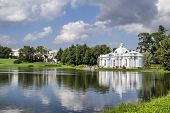 image of tsarskoe  - Grotto pavilion and Cameron Gallery in Catherine park in Tsarskoe Selo near St - JPG