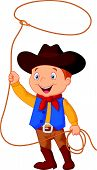 image of lasso  - Vector illustration of cowboy kid twirling a lasso - JPG