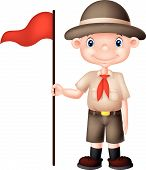stock photo of boy scouts  - Vector illustration of Cartoon boy scout holding red flag - JPG