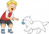 picture of playmates  - Illustration of a Little Boy Playing Fetch with His Dog - JPG