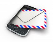 image of telegram  - PDA abstract SMS on white background  - JPG
