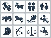 stock photo of cancer horoscope icon  - Signs of the zodiac vector icons set - JPG