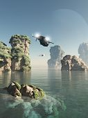 foto of alien  - Science fiction illustration of scout patrol ships flying through sea stacks on an alien world - JPG