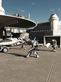 picture of defender  - Science fiction illustration of battle robots ready to attack or defend the spaceport in a future city - JPG