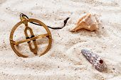 picture of sundial  - Sundial in the sand - JPG
