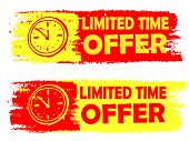 stock photo of clocks  - limited time offer with clock signs banners  - JPG