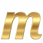 stock photo of letter m  - Golden shining metallic 3D symbol letter m  - JPG