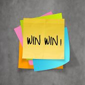 picture of win  - win win words on crumpled sticky note paper as concept - JPG
